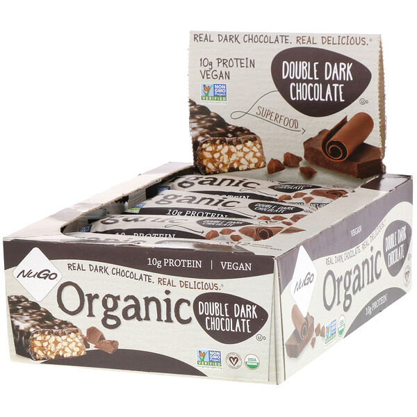 Organic Protein Bars, Double Dark Chocolate, 12 Bars, 1.76 oz (50 g) Each