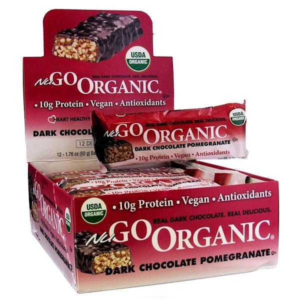 NuGo Nutrition, Organic Protein Bar, Dark Chocolate Pomegranate Bars, 12 Bars, 1.76 oz (50 g) Each (Discontinued Item)