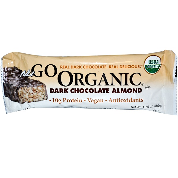 NuGo Nutrition, Organic Protien Bar, Dark Chocolate Almond, 1.76 oz (50 g) (Discontinued Item)