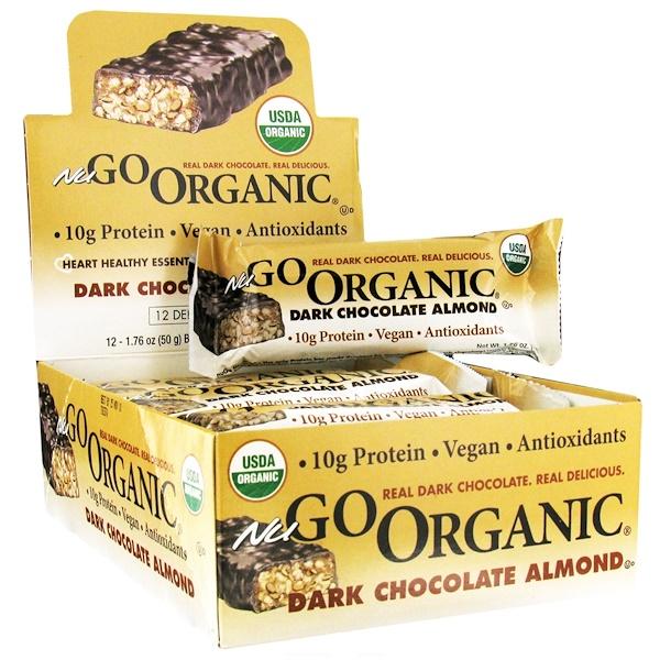 NuGo Nutrition, Organic Protein Bar, Dark Chocolate Almond, 12 Bars, 1.76 oz (50 g) Each (Discontinued Item)