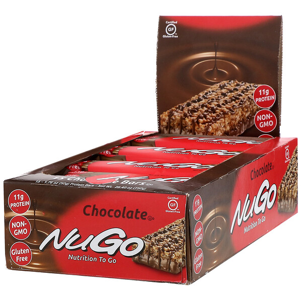 NuGo Nutrition, Nutrition To Go, Chocolate, 15 Bars, 1.76 oz (50 g) Each