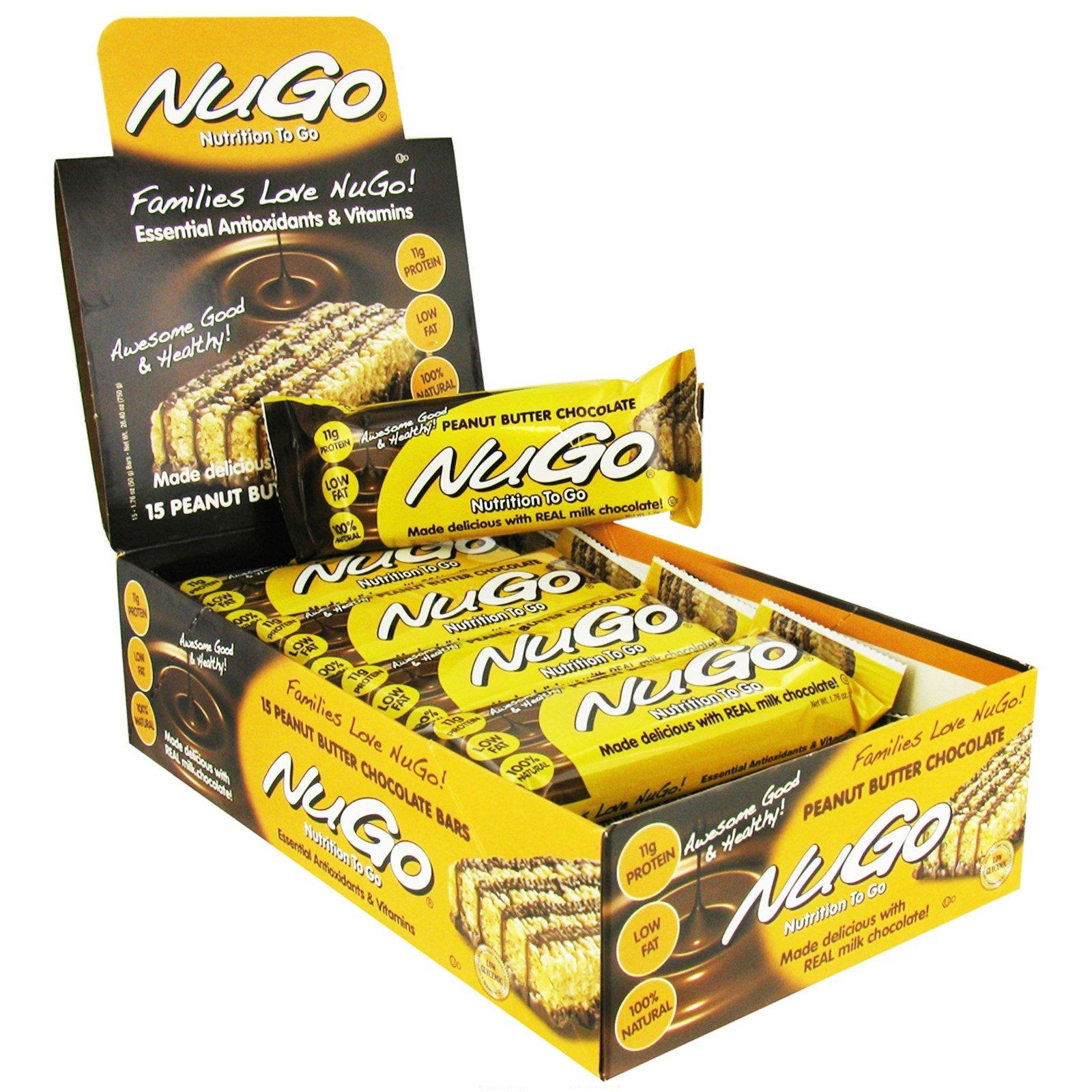NuGo Nutrition, Питание на ходу, шоколадные батончики с арахисовым маслом, 15 батончиков по 1.76 унций (50 г)