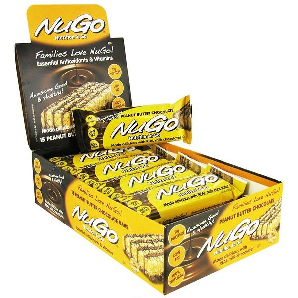 NuGo Nutrition, Nutrition To Go,花生醬巧克力棒,15條,每條1、76盎司(50克)