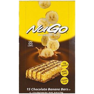 NuGo Nutrition, Nutrición en cualquier lugar, barras de chocolate y banana, 15 barras proteicas, 1.76 oz (50 g) cada una