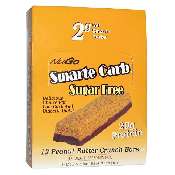 NuGo Nutrition, Smarte Carb Sugar Free, Peanut Butter Crunch Bars, 12 -1、76 oz (50 g) Bars