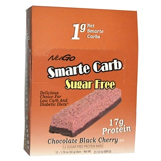 NuGo Nutrition, Smarte Carb Sugar Free, Chocolate Black Cherry, 12 Bars, 1.76 oz (50 g) Each