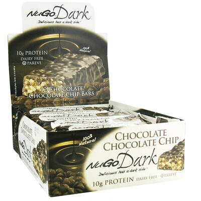 Фото - NuGo Dark, белковые батончики с шоколадной стружкой, 12 батончиков, весом 50 г (1,76 унции) каждый батончики со вкусом песочного теста и кусочками шоколада 16 батончиков 45 г 1 6 унции каждый