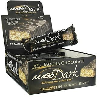 NuGo Nutrition, Organic Protein Bars, Dark Mocha Chocolate, 12 Bars, 1.76 oz (50 g) Each
