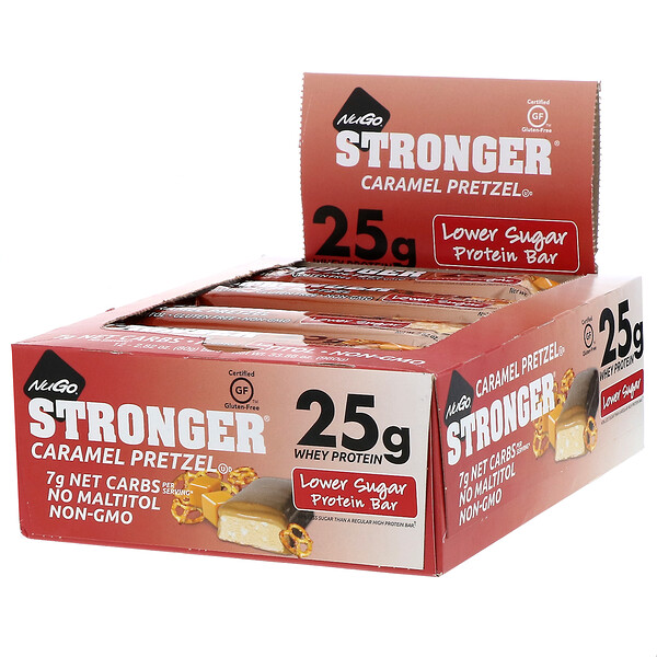 NuGo Nutrition, STRONGER, Protein Bar, Caramel Pretzel, 12 Bars, 2.82 oz (80 g) Each (Discontinued Item)