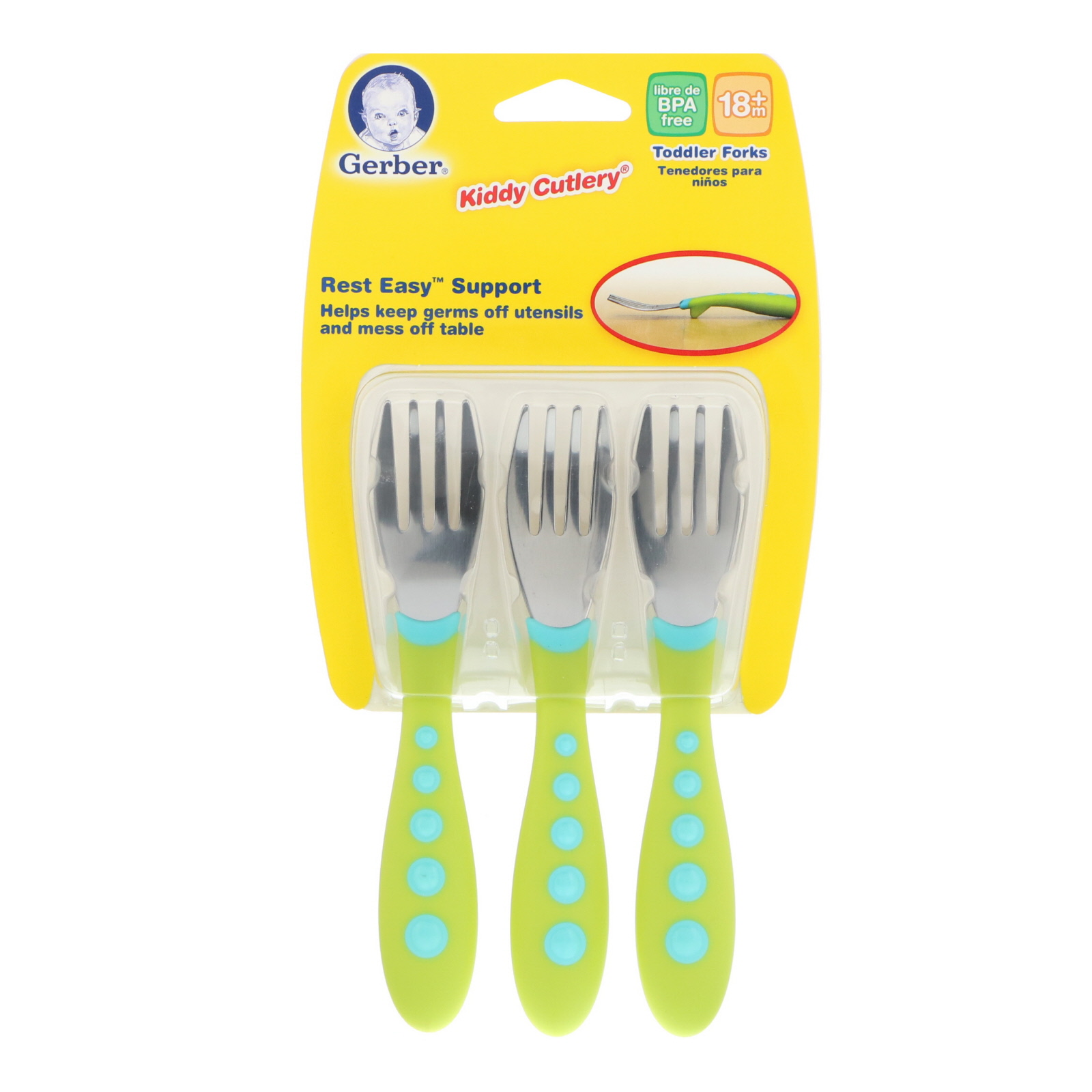 Gerber Stainless Steel Tip Kiddy Cutlery 6-Piece Set Pink//Green by NUK