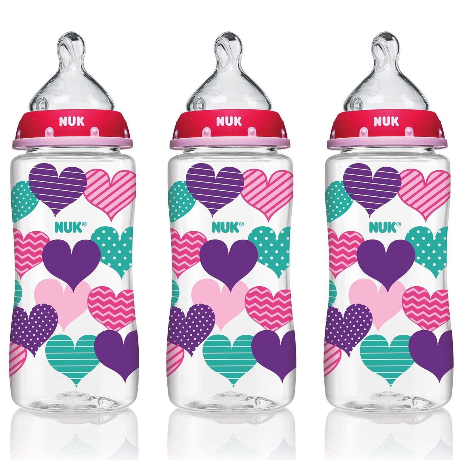 Nuk Bottle With Perfect Fit Nipple 0 Months Medium Hearts 3 Wide Neck Options Soother Gift Set Blue Pink
