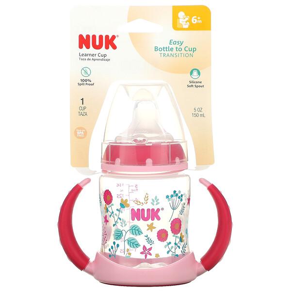 NUK, тренировочная чашка, для детей от 6 месяцев, розовая, 150мл (5унций), 1шт.