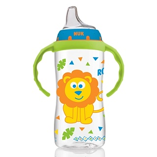 NUK, Большая бутылочка для обучения питью, от 9 месяцев, мальчик из джунглей, 1 бутылочка, 10 унций (300 мл)