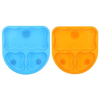 NUK, طقم أطباق First Essentials بأدوات امتصاص للتثبيت مقسم إلى ثلاثة أقسام للأطفال فوق سن 6 شهور، مكون من طبقين