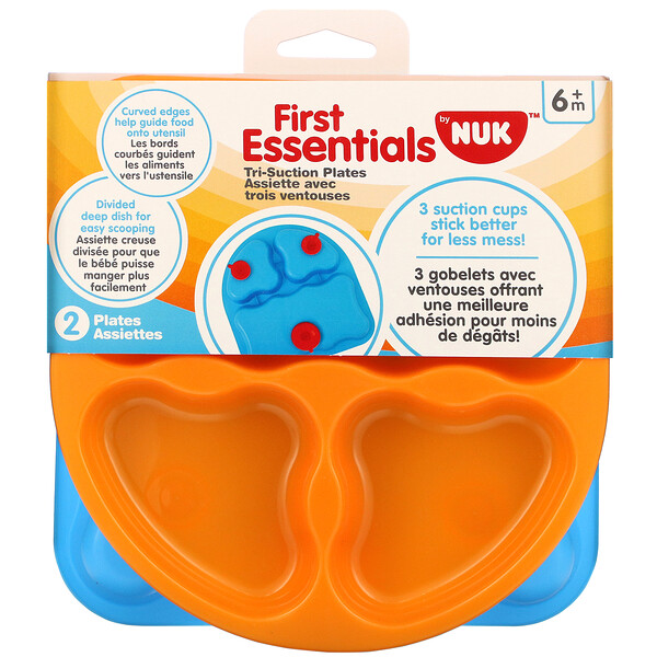 NUK, First Essentials, Tri-Suction Plates, 6+ Months, 2 Plates