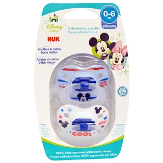 NUK, Disney Baby, Mickey Mouse Orthodontic Pacifier, 0-6 Months, 2 Pacifiers
