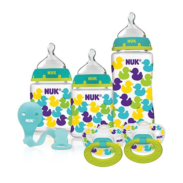 NUK, Bottles with Perfect Fit Nipples and Pacifier Gift Starter Set, Ducks, 0+ Months, 1 Set (Discontinued Item)