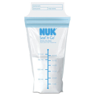 NUK, Bolsas para leche materna Seal 'n Go, 25 bolsas de almacenamiento, 6 oz (180 ml) cada una