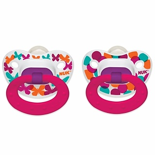 NUK, Confetti, Orthodontic Pacifier, 6-18 Months, Butterflies, 2 Pack