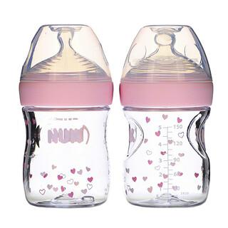 NUK, Simply Natural زجاجات أطفال، تدفق بطيء، من عمر يوم واحد فأكبر، زجاجتان، 5 أونصة (150 مل)