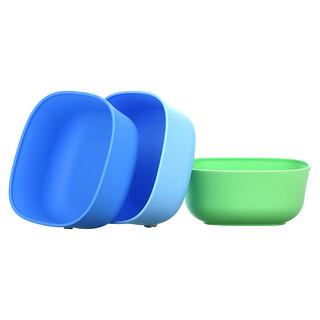 NUK, Stacking Bowls, 4+ Months, Blue & Green, 3 Bowls + 3 Lids