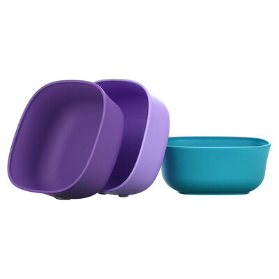 NUK Stacking Bowls, 4+ Months, Purple & Teal, 3 Bowls + 3 Lids