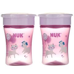 NUK, Evolution 360 杯,8 個月以上,粉紅色,2 個,每個 8 盎司(240 毫升)