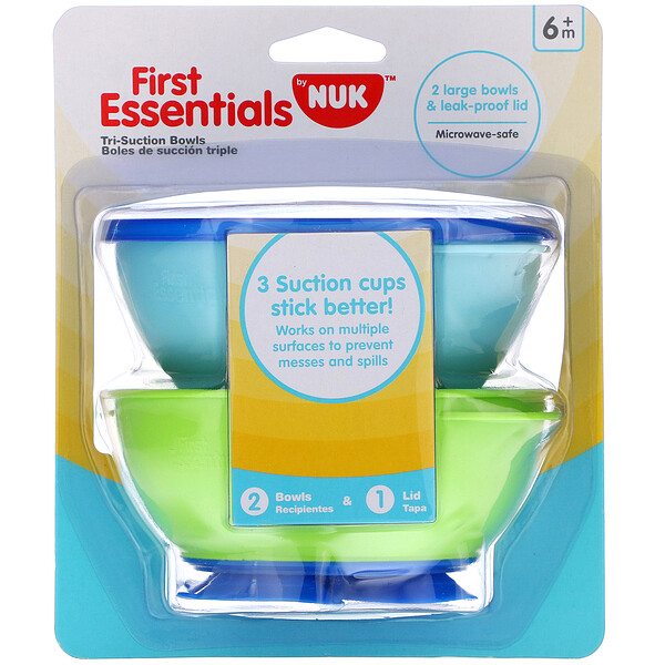 NUK, First Essentials, Tri-Suction Bowls, 6+ Months, 2 Bowls & 1 Lid