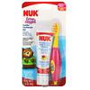 NUK, Grins&Giggles, Juego de cepillo de dientes para niños pequeños, Suave, Desde los 12meses, 1limpiador y 1cepillo