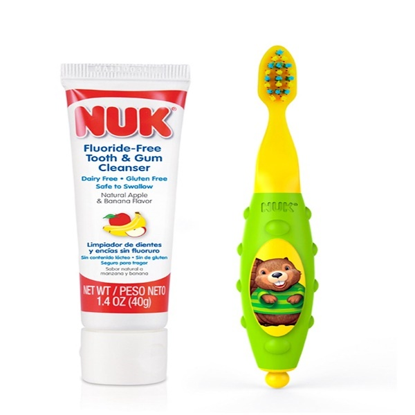 :NUK, Grins & Giggles Toddler Toothbrush Set, 12+ Months, 1 Cleanser & 1 Brush