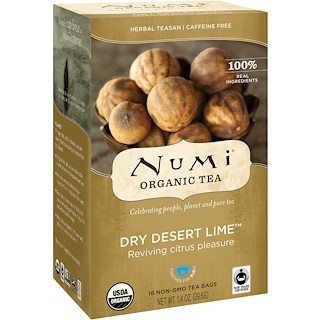 Numi Tea, Organic Tea, Herbal Teasans, Dry Desert Lime, Caffeine Free, 18 Tea Bags, 1.4 oz (39.6 g) Each