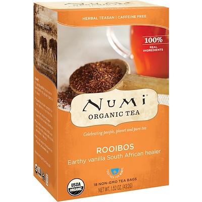 Органические чаи, Herbal Teasan, ройбуш, без кофеина, 18 чайных пакетиков, 1, 52 унц. (43, 2 г)  - купить со скидкой