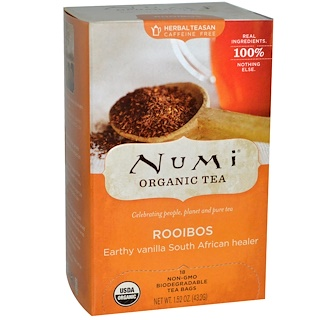 Numi Tea, Organic Herbal Teasan, Caffeine Free, Rooibos, 18 Tea Bags, 1.52 oz (43.2 g)