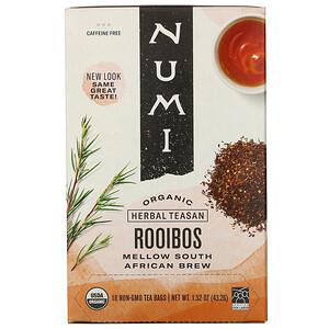 Нуми Ти, Organic Herbal Teasan, Rooibos, Caffeine Free, 18 Tea Bags, 1.52 oz (43.2 g) отзывы покупателей