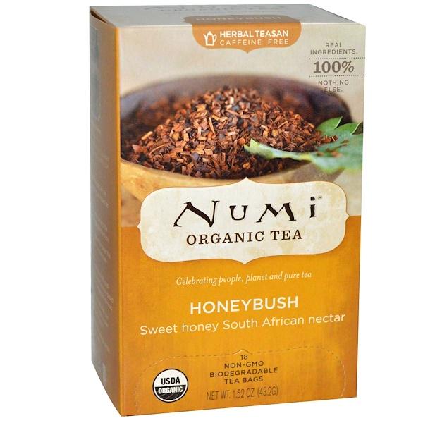 Numi Tea, Organic Tea, Honeybush, Caffeine Free, 18 Tea Bags