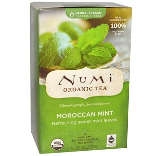 Numi Tea, Organic Herbal Teasan, Caffeine Free, Moroccan Mint, 18 Tea Bags, 1.40 oz (39.6 g)