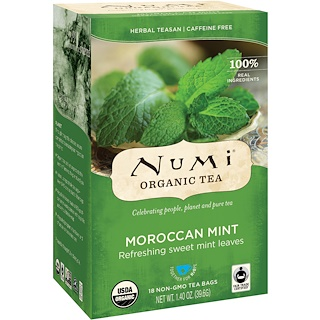 Numi Tea, Organic Tea, Herbal Teasan, Moroccan Mint, Caffeine Free, 18 Tea Bags, 1.40 oz (39.6 g)