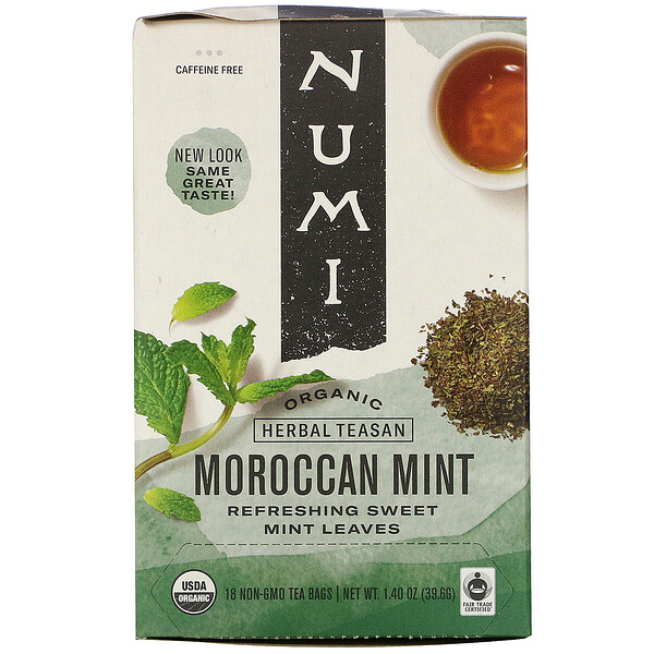 Organic Herbal Teasan, Moroccan Mint, Caffeine Free, 18 Tea Bags, 1.40 oz (39.6 g)