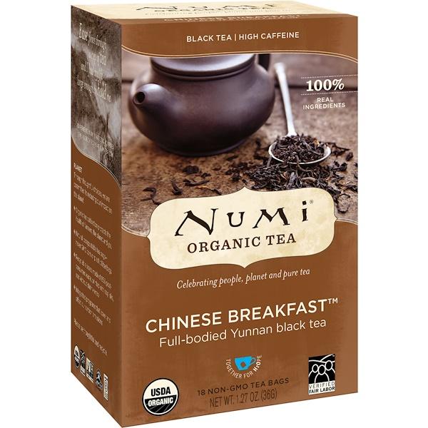 Numi Tea, Organic Tea, Black Tea, Chinese Breakfast, 18 Tea Bags, 1、27 oz (36 g)