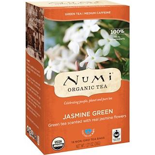 Numi Tea, オーガニックティー、緑茶、ジャスミングリーン、ティーバッグ18袋、1.27 oz (36 g)