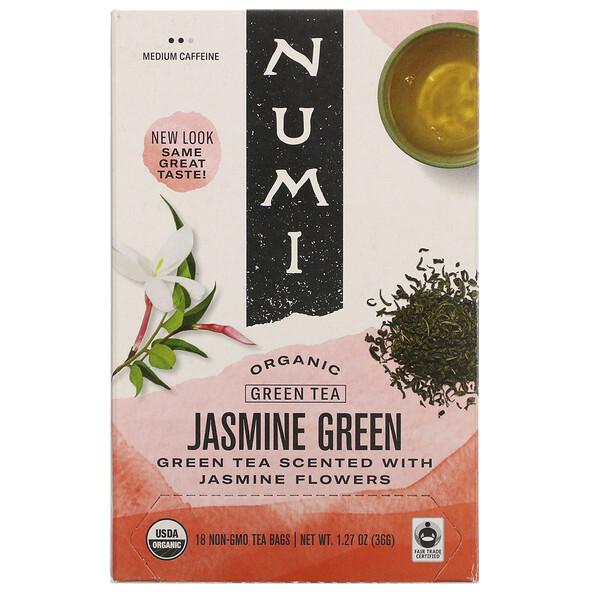 Organic Green Tea, Jasmine Green, 18 Tea Bags, 1.27 oz (36 g)
