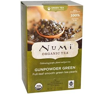 Numi Tea, Organic Green Tea, Medium Caffeine, Gunpowder Green, 18 Tea Bags, 1.27 oz (36 g)