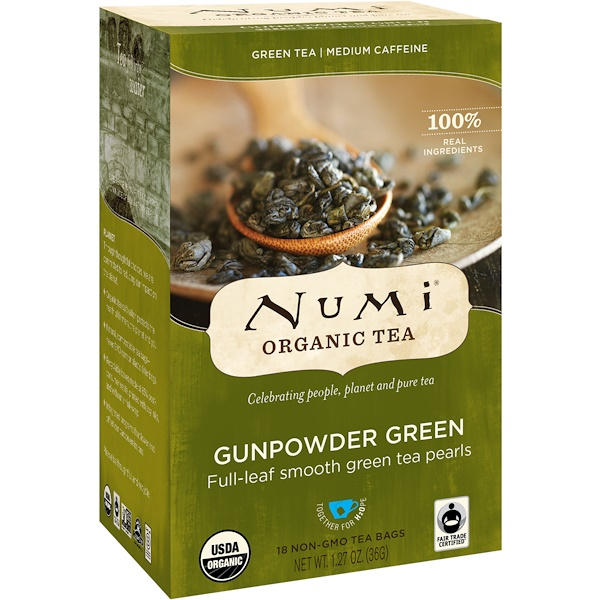 Numi Tea, Organic Tea, Green Tea, Gunpowder Green, 18 Tea Bags, 1.27 oz (36 g)