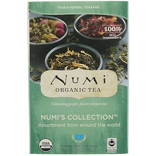 Numi Tea, Organic Numi's Collection, Teas & Herbal Teasans, 16 Non-GMO Tea Bags, 1.26 oz (34.74 g)