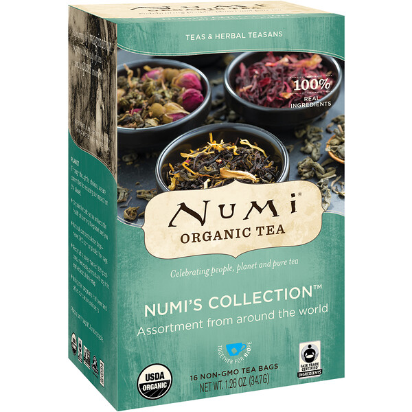 Numi Tea, Organic Tea, Teas & Herbal Teasans, Numi's Collection, 16 Non-GMO Tea Bags, 1.26 oz (34.7 g)