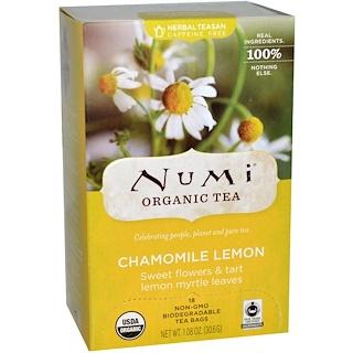 Numi Tea, Organic Tea, Chamomile Lemon, Caffeine Free, 18 Tea Bags, 1.08 oz (30.6 g)