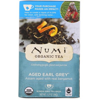 Органический чай, черный выдержанный Эрл Грей, 18 чайных пакетиков (1,27 унц. (36 г)