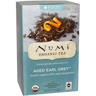 Numi Tea, Органический, выдержанный чай Эрл Грей, 18 пакетиков