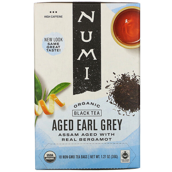 Organic Black Tea, Aged Earl Grey, 18 Tea Bags, 1.27 oz (36 g)