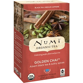 Numi Tea, Organic Black Tea, Medium Caffeine, Golden Chai, 18 Tea Bags, 1.65 oz (46.8 g)
